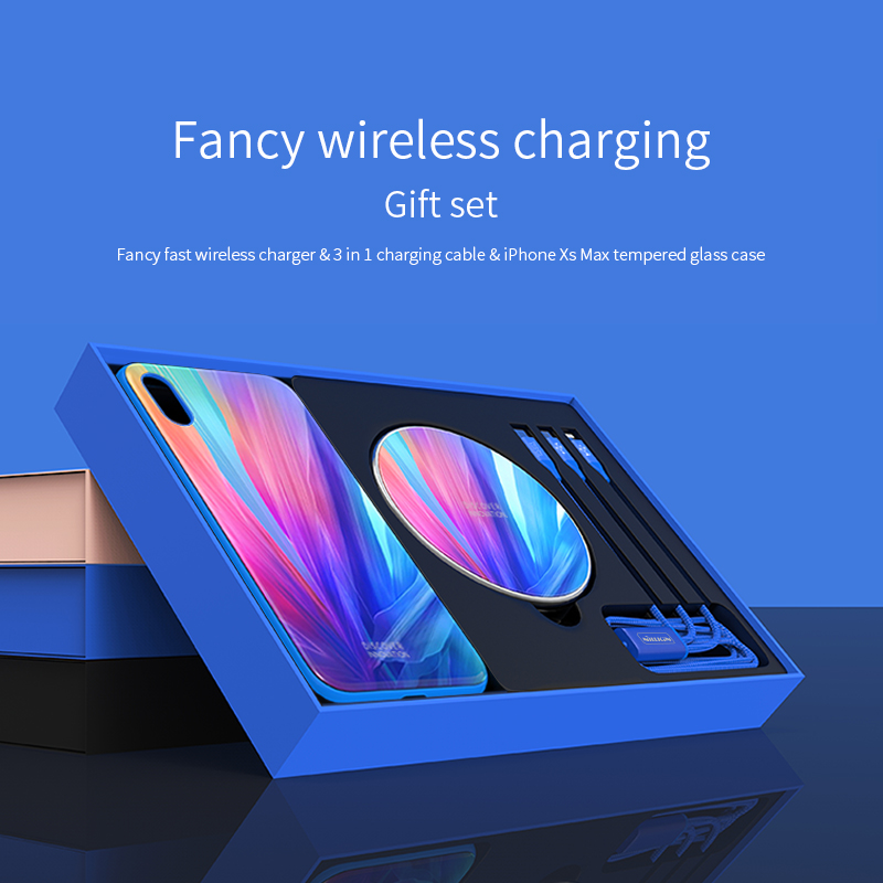 Cadeau boîte Pour iphone XS Max/XR En Verre Trempé Cas + 3 dans 1 Câble + Rapide Sans Fil Chargeur NILLKIN Fantaisie Sans Fil de charge Ensemble