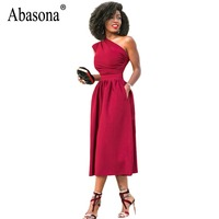 Abasona Women Summer Dresses One Shoulder Long Party Dress Sexy Pleated Pockets Elegant Ladies Dress Black