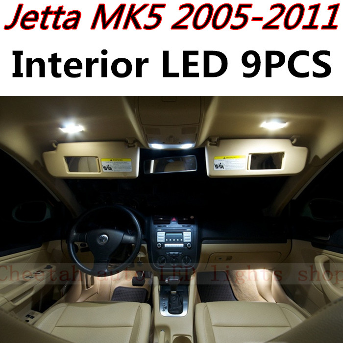 9pcs X free shipping Error Free LED Interior Light Kit Package for VW Jetta MK5 A5 accessories 2005-2011 free shipping original 0258007227 17014 0258007351 0258007057 fits for 99 05 vw jetta 1 8l l4 oxygen sensor front upstream