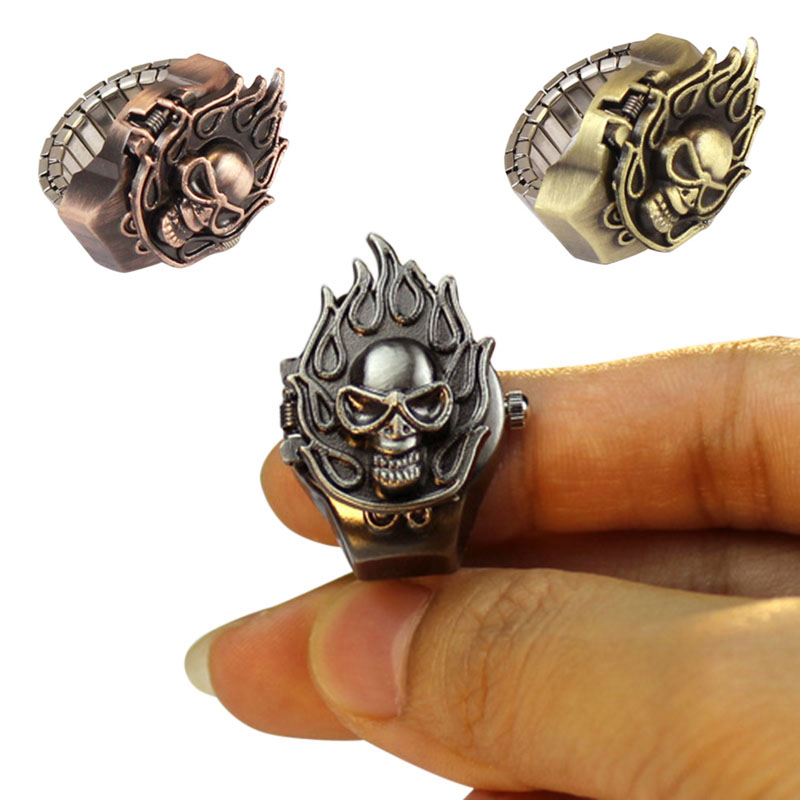 New Fashion Women Watchs Retro Finger Ring Watch Unisex Vintage Fire Skull Ring Men Watches Jewelry Gifts VL