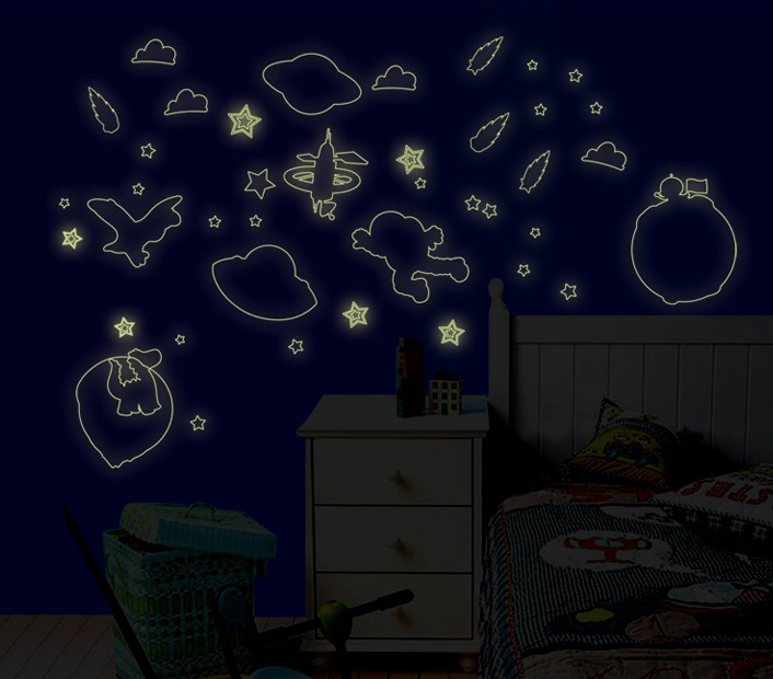 fluorescent space airship stars wall stickers boys cosmic luminous wallpaper decals baby kids home nursery classroom DIY decor