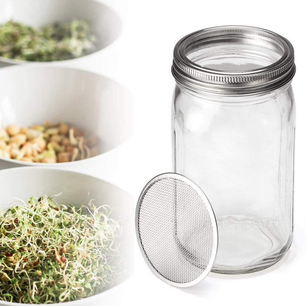 Mason Jar Sprouting Cover Set Sprouting Jar Lid With 2 Pack Stainless Steel Sprouting Stands For Wide Mouth Mason Jars Dropship