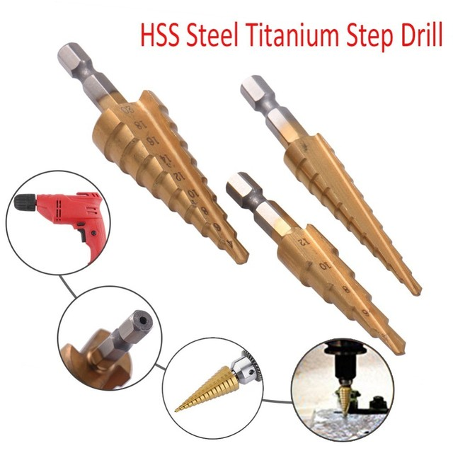 HSS Steel Titanium Coated Step Drill (3pcs)