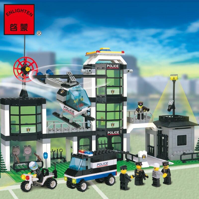 model building kits compatible with lego city Hotel De Police 3D blocks Educational model & building toys hobbies for children