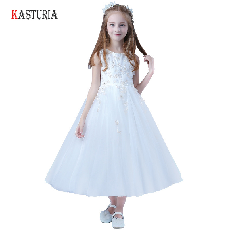 New summer kids dresses for girls princess dress long teenager flower girl summer clothes embroidery wedding birthday dresses