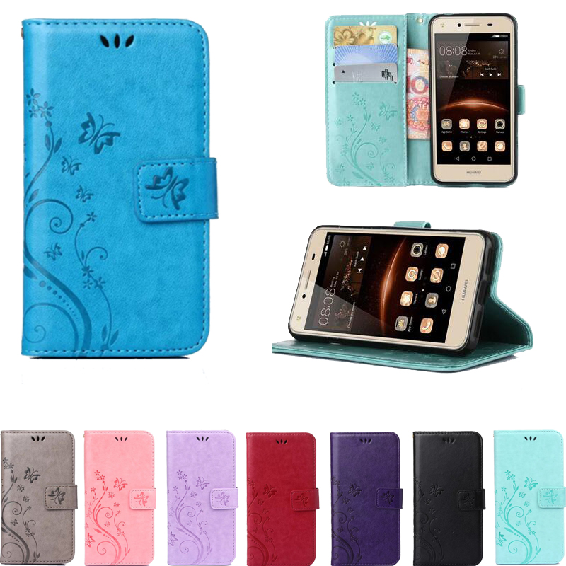 Butterfly Pattern Wallet Leather Phone Case For Huawei Honor 4A 5A Y6 II Compact P8 P9 Lite G620S Y635 Y625 Stand Back Cover Bag