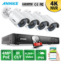 ANNKE 8CH 4MP POE Video Security System With 4pcs 4mm 4MP Weatherproof Night Vision Cameras P2P Onvif 2.4 WDR 3D DNR NVR Kit