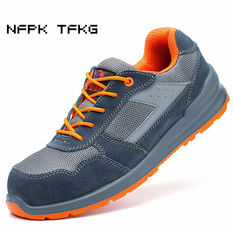 comfort light steel toe caps work safety shoes men big size breathable summer anti-pierce tooling security boots protective male halinfer large size 45 46 men fashion breathable mesh steel toe caps work safety shoes with anti pierce protective footwear