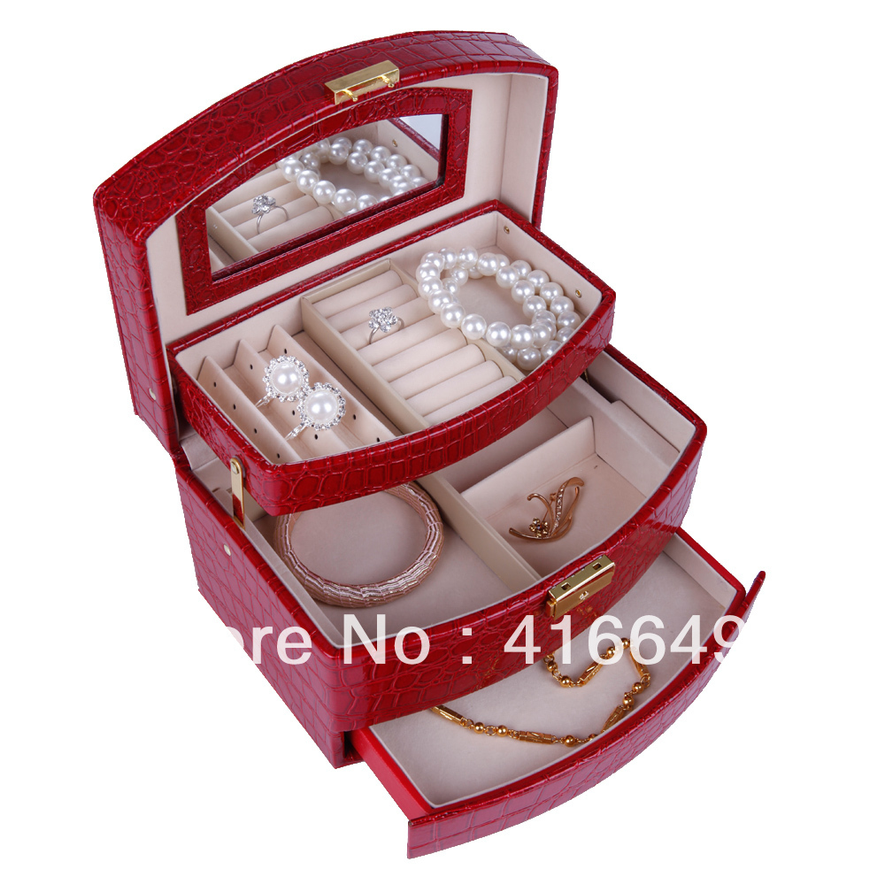 europe princess faux suede casket jewelry packaging large size three tier storage box hotsale freeshipping