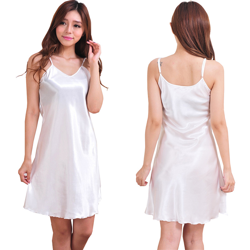 oversized summer casual sexy sleep short dress New Women Sexy Nightwear Spaghetti straps Silk-like Dress Sleepwear Slip dress
