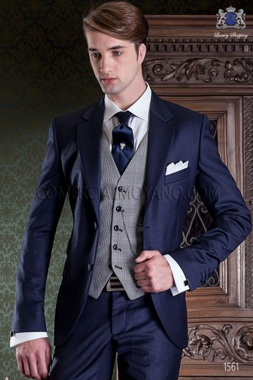 Fashionable Two Buttons Navy Blue Groom Tuxedos Groomsmen Notch Lapel Mens Suits Blazers (Jacket+Pants+Vest+Tie) W:989