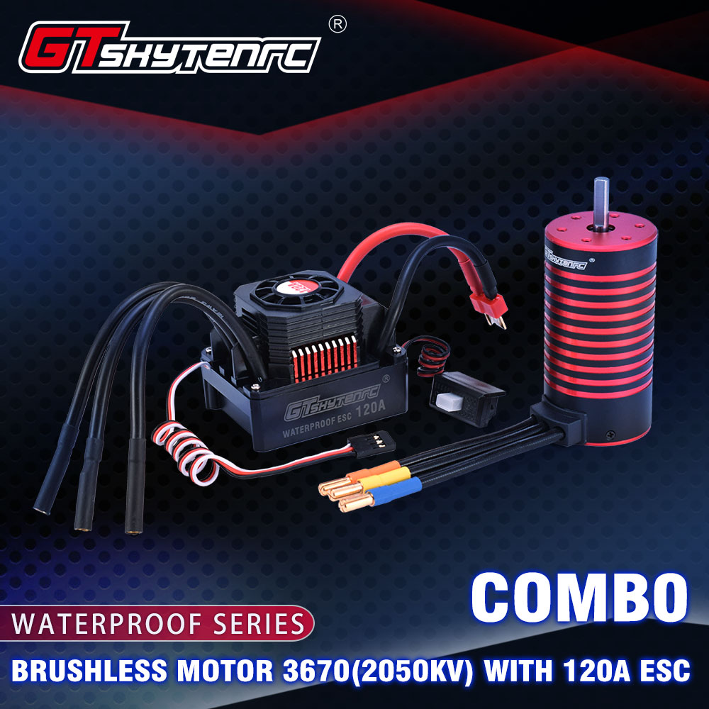 GTSKYTENRC ensemble étanche 3670 2050KV 2650KV 2850KV moteur sans brosse avec radiateur 120A sans balai ESC pour voiture 1/10 1/8 RC