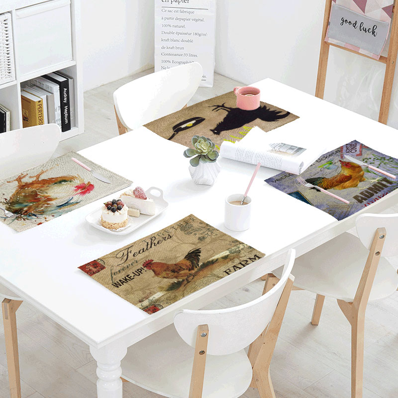 Retro Big Cock Linens Table Napkins Printed Place Mat Polyester Stamp Color 32x42cm Table Cloth Design Party Decoration