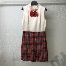 casual women dress 2019 autumn patchwork tweed dresses with bow tie sleeveless female dress tie neck fringe detail tweed dress