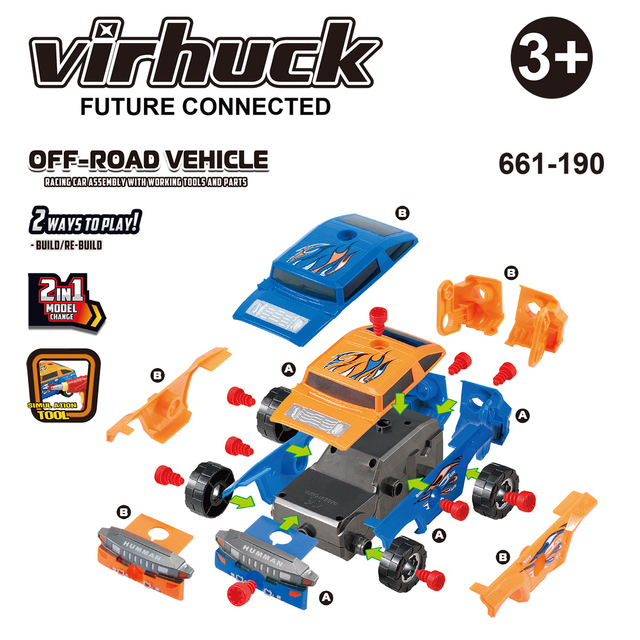 Virhuck Off Road Vehicle Take A Part Toy Car For Kids With 36
