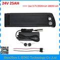 500 W 24 V 24 V 25AH silver fish ebike bateria de lítio uso da bateria com conector USB 2500 mah 18650 celular Carregador BMS com 3A 30A