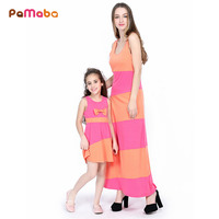PaMaBa Fashion Family Matching Outfit Orange And Pink Stripe Maxi Dress Sleeveless Cotton Summer Robe Gown