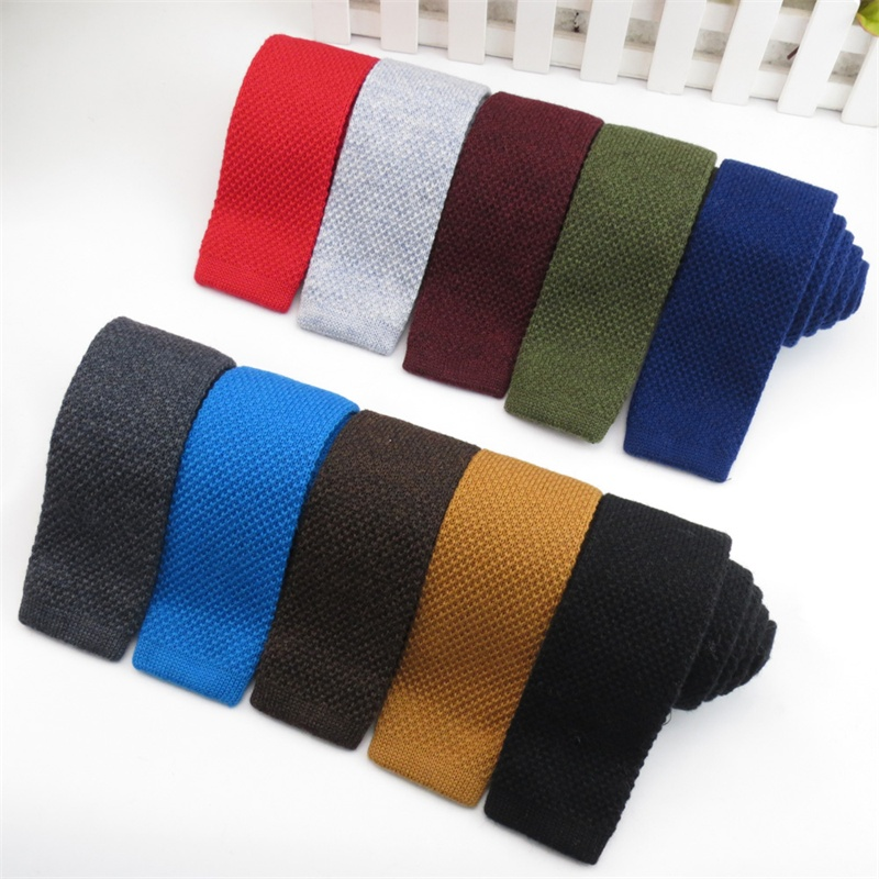 Mantieqingway Mens Ties Business 5cm Skinny Knitted Necktie Solid Knitting Ties Wool Upscale Neckwear Wedding Party Gifts