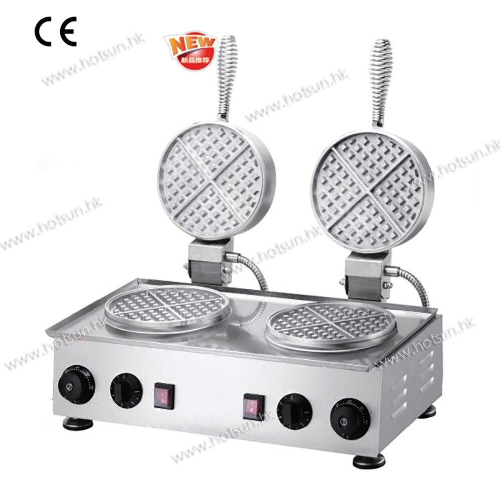 Commercial Use 110V 220V Electric Dual Belgian Waffle Baker Iron Maker Machine without Teflon Coating