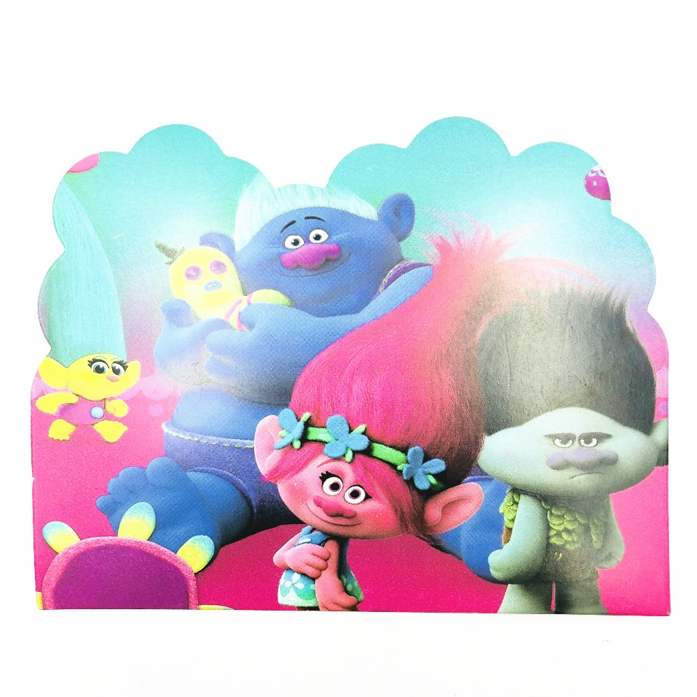 10pcs Trolls Baby Shower First Birthday Party Invitations Ideas Partyware Decoration Girls Invitation Card In Cards From