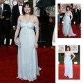 Robe de Soiree Azul Pálido Red Carpet Chiffon A Linha de Vestidos de Celebridades 2015 Moderno C1040 Querida Top Venda Longos Vestidos Formais