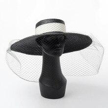01812 HH7269 2019 new desige handmade straw Hepburn style DINNER Elegant Retro mesh lady holiday sun cap  women leisure hat
