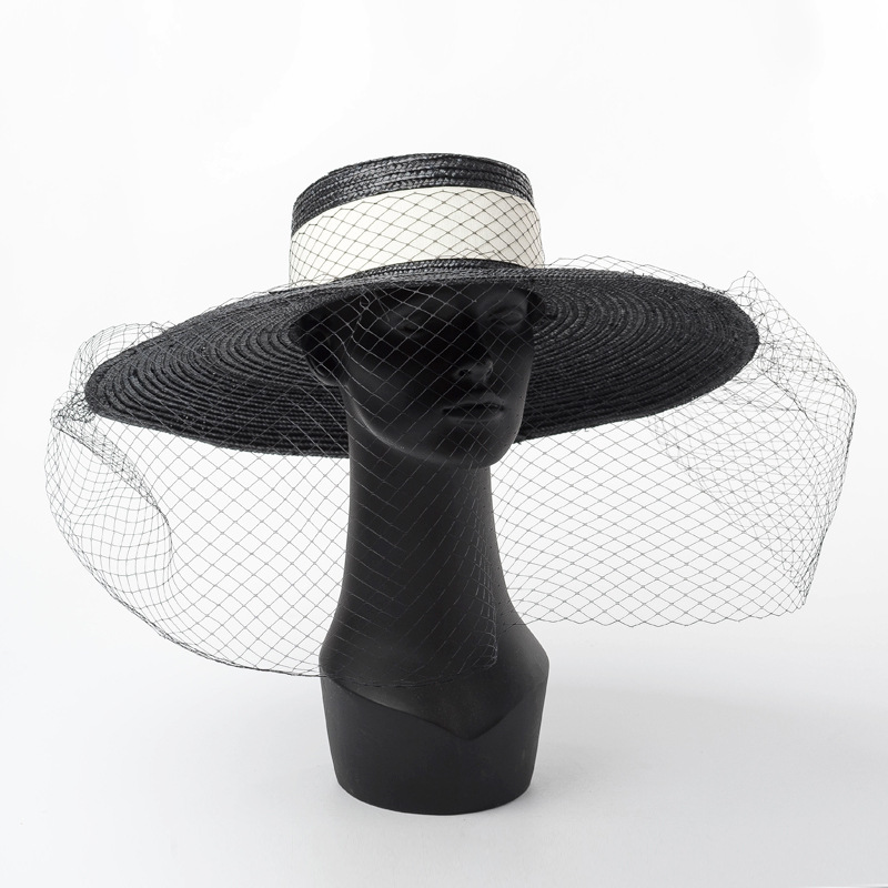 01812-HH7269 2019 New Desige Handmade Straw Paper Hepburn Style Elegant Retro Mesh Lady Holiday Sun Cap  Women Leisure Hat