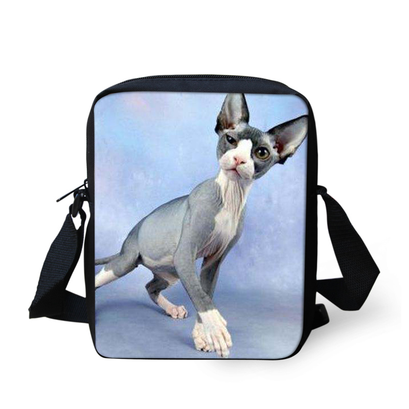 FORUDESIGNS Cool Canadian Hairless Cats Messenger Bags For Men Women,Cartoon Animal Travel Crossbody Bag Shoulder Pack Wholesale