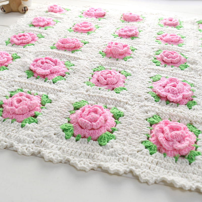 Handmade Blanket For Newborn Baby Photo Props Crochet Rose Flowers Pink Floral Knitted Receiving Blankets Photography Props meetcute newborn baby photography props floral crochet blankets cute bear hat knitted bear sets baby fotografia photo kits