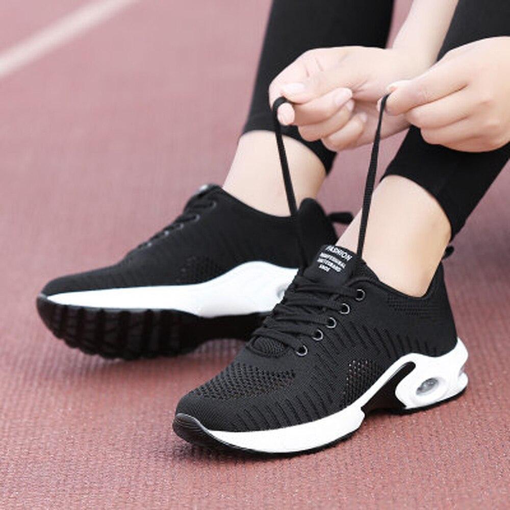 Respirant femmes baskets léger course chaussures pour filles noir Tennis chaussures femme maille plate-forme baskets grande taille 35-42