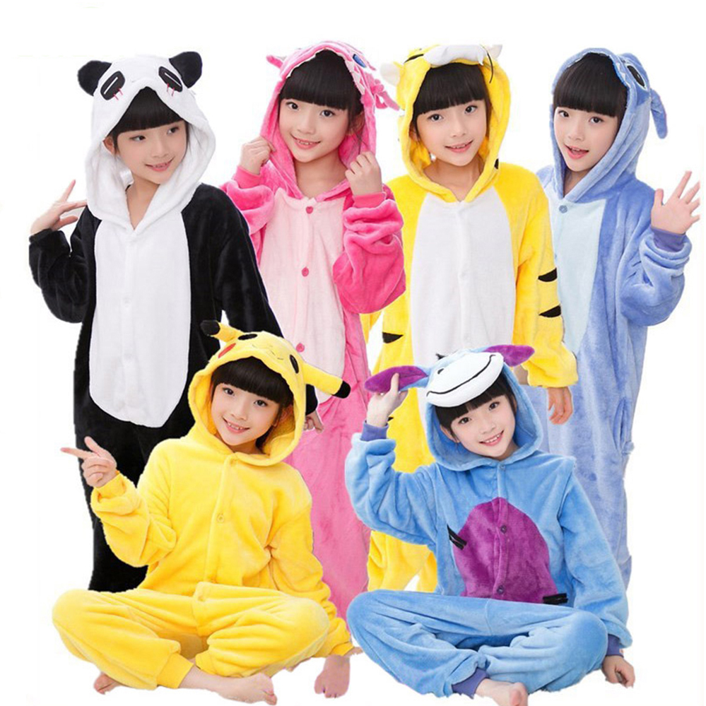 Kids Pajamas For Boys Girls 5 6 7 8 10 12 Years Sleepwear Onesies Flannel Animal Stitch Unicorn Cosplay Hooded Children Pajamas