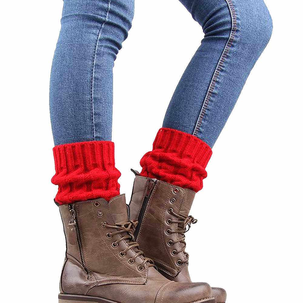 Kobiety zimowe ocieplacze do nóg z dzianiny skarpetki osłona buta nogi buty cieplej okładka ocieplacze do nóg z dzianiny skarpetki osłona buta Drop shipping 40H