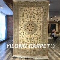 Yilong 4 X6 Traditional Persian Design Vivid Flower Handmade Wool Silk Rug Chinese Carved Wool Carpet
