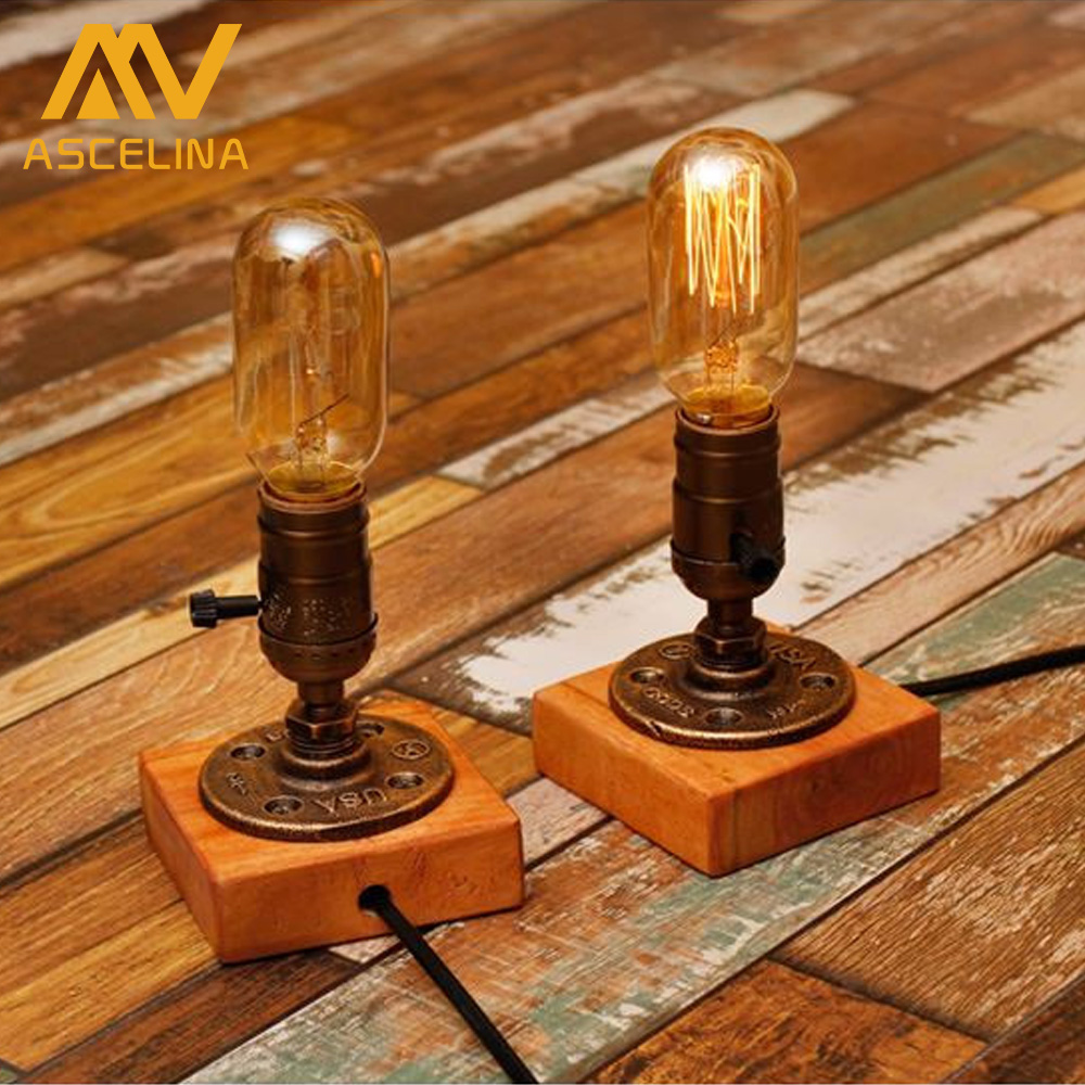 Retro Coffee Shop Table Lamp Wood Vintage Desk Lamp Dimmable Edison Bulb Bedroom