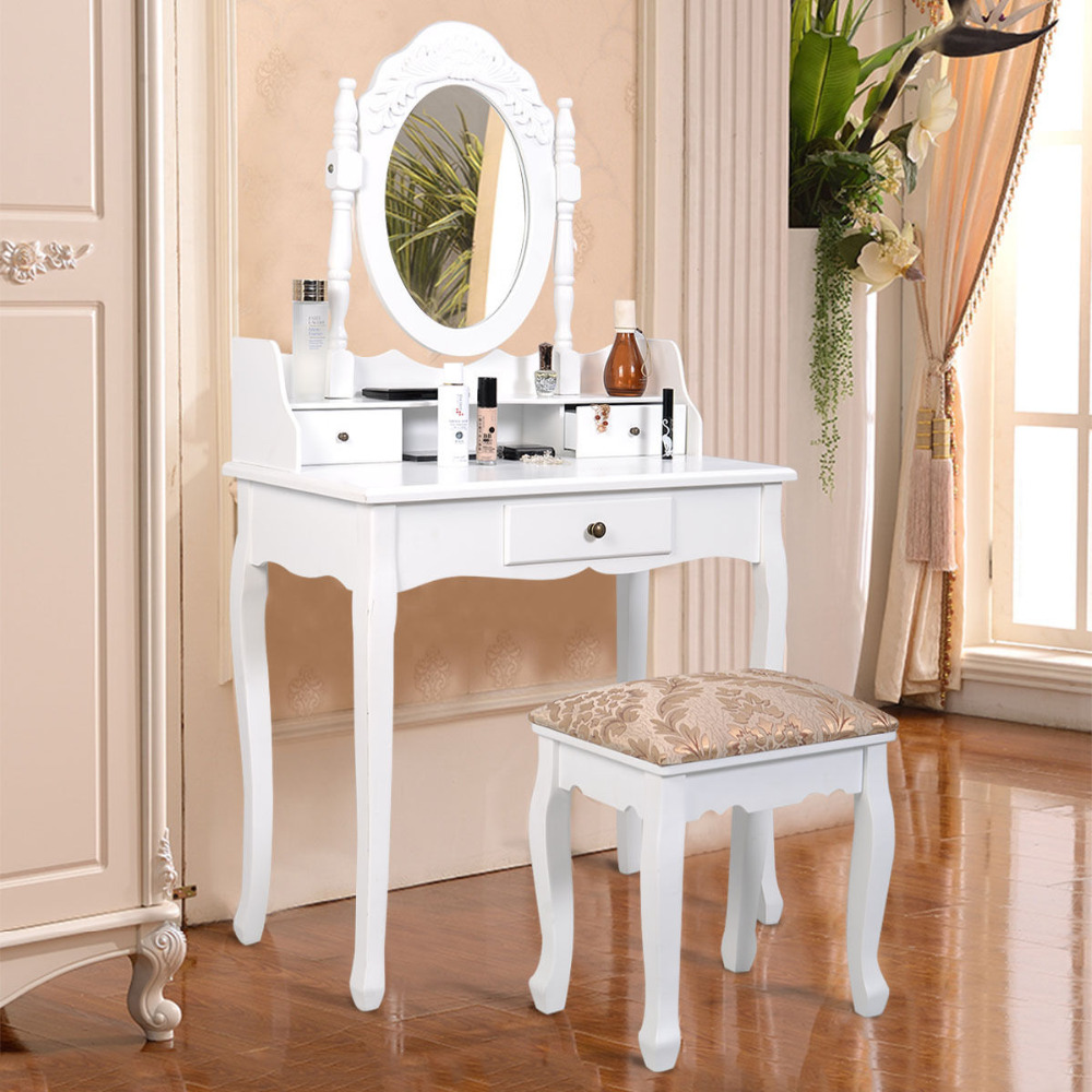 все цены на Goplus Makeup Dressing Table 3 Drawer Vanity and Stool Set White Makeup dresser Table with Adjustable Swivel Oval Mirror HW50201