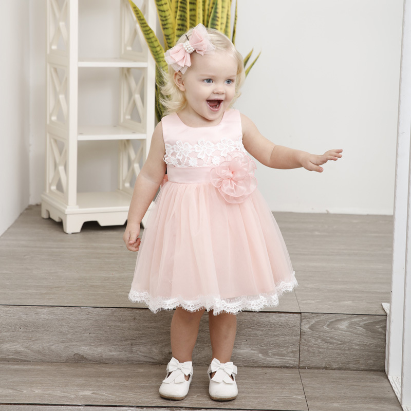 1 6T 2018 Brand New Summer Beach Baby Girl Dress Floral Toddler 1 2Y Birthday Party Evening Formal Dresses For Little Girls 3211