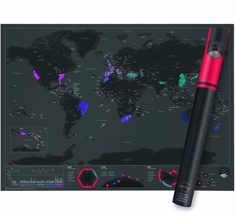 Alta calidad divertido capitales edición raspar Mapas soplado Mapas de Mundo para el viajero Wall decor poster 59x82 cm