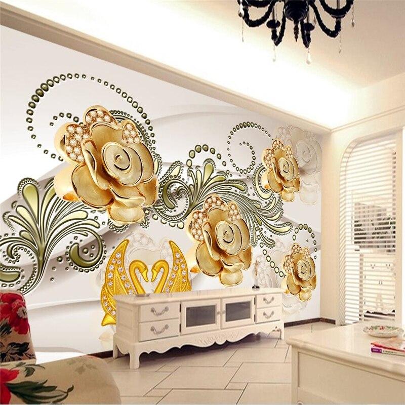Beibehang Besar Wallpaper Mural Foto Disesuaikan Ukuran Estetika Suasana Perhiasan Mawar Bunga Dinding Latar Belakang Wallpaper