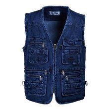 Brieuces Over size 5XL Denim Vests Men Cotton Multi Pocket Jean Jacket Gilet Male Brand Military Waistcoat masculina jaquetas