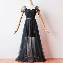 Black Color Long Dress Short Inner Lining Bridesmaid Dresses Woman for Party and Wedding