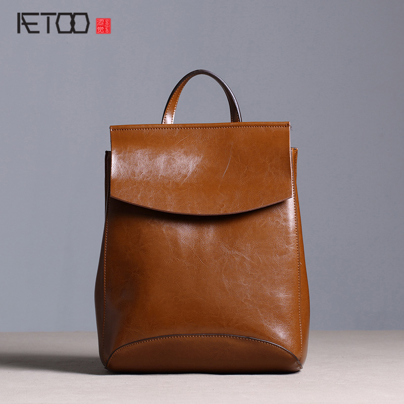 AETOO New original leather backpack female shoulder bag leather Korean version of the trend of simple retro fashion bags aetoo first layer of leather shoulder bag female bag korean version of the school wind simple wild casual elephant pattern durab
