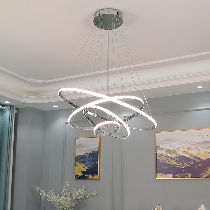 NEO Gleam Chrome plaqué moderne LED Lustre pour salle à manger salon lampadario moderno Lustre Circel anneaux Lustre