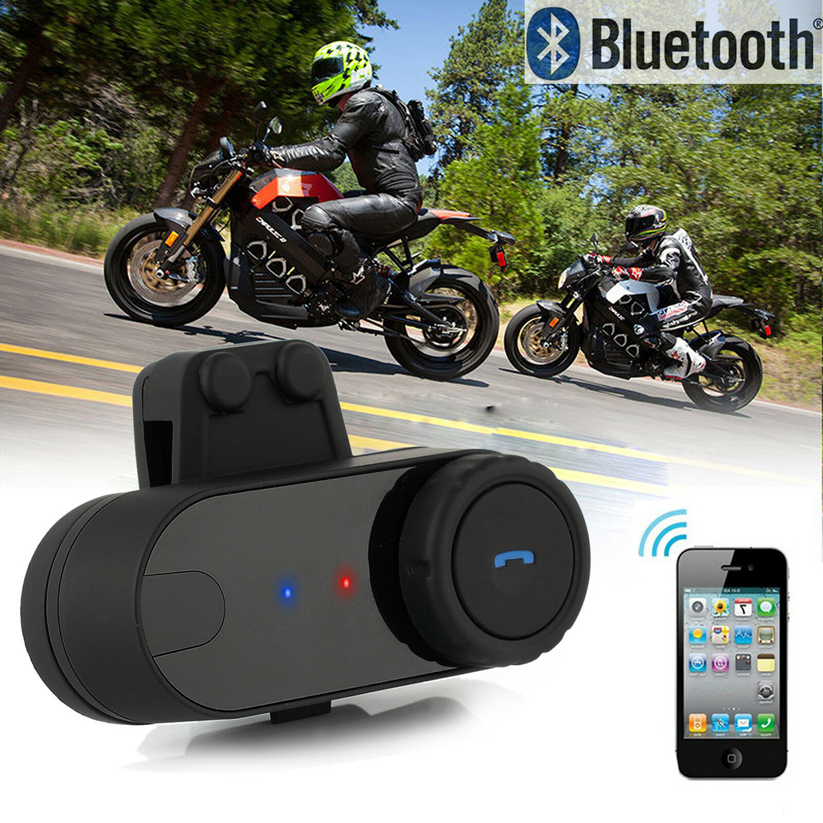 SOONHUA Wireless BT Interphone Walkie talkie 800M Motorcycle Walkie talkies Motorbike Bluetooth Helmet Intercom HeadsetSOONHUA Wireless BT Interphone Walkie talkie 800M Motorcycle Walkie talkies Motorbike Bluetooth Helmet Intercom Headset