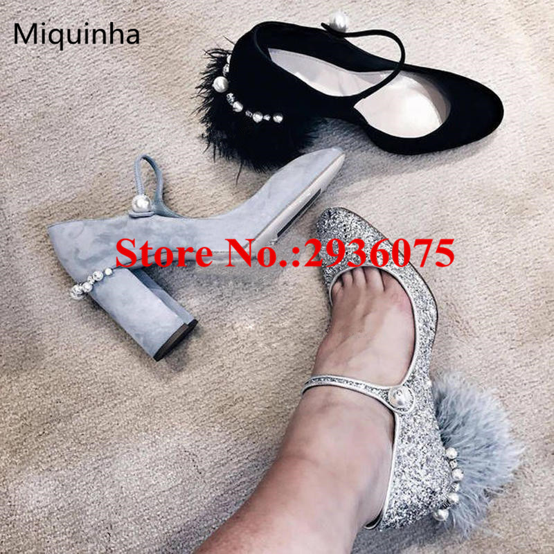 ФОТО New Silver Bling Glitter Furry Feather Pearl Embellished Block Heels Mary Janes Pumps Faux Fur Beading Fashion Party Shoes Woman