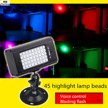 Mini 45 LED Disco Dj Stage Light 23W Sound Activated Strobe Stage Lighting Chrismas Party Lights USB Colorful/White Light Flash
