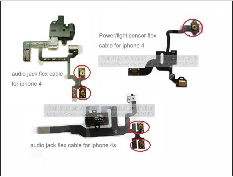 Brand New Original micro Spring piece Terminal For iPhone 4S 4 Power sleep button Light sensor headphone audio Jack Flex Cable