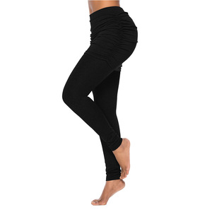 Image 3 - New Running Pants Fashion Women Wrap Folding Hip Side Pleated Skirt Fake Two Pieces Slim Sexy Skirted Leggings High Waist Pants