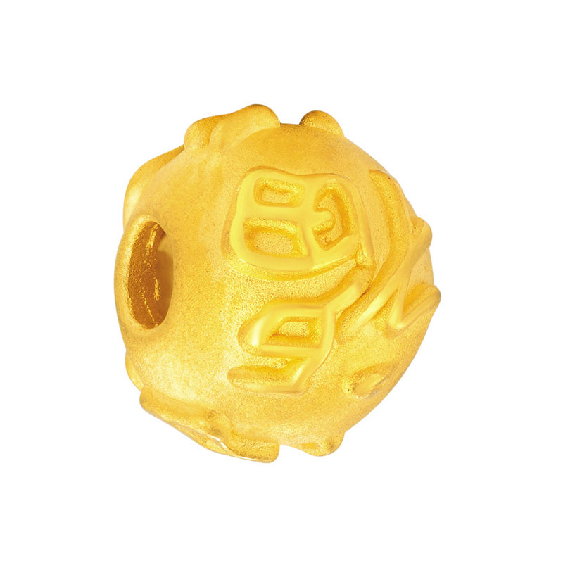 Pur 24 K Bracelet en or jaune femmes Fu balle armure chaîne Bracelet 0.62g - 3