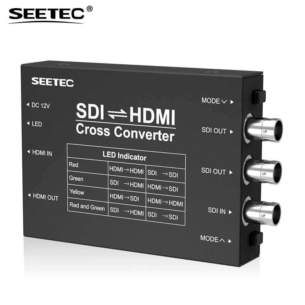 Seetec SCH SDI to HDMI/ HDMI to SDI Cross Converter Portable Broadcast HDMI and SDI Cross Converter Heavy Duty Metal Housing