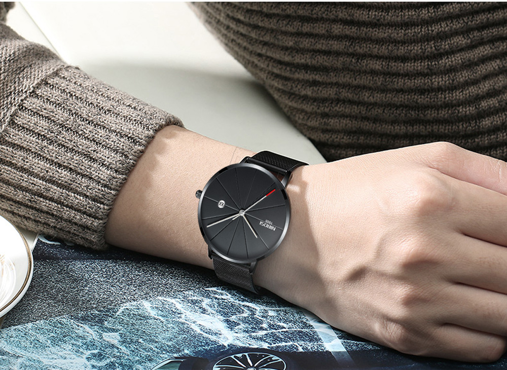 NIBOSI watch men black quartz wristwatches stainless steel mesh brand  watches men ultra thin quartz relogio masculino dourado (17)